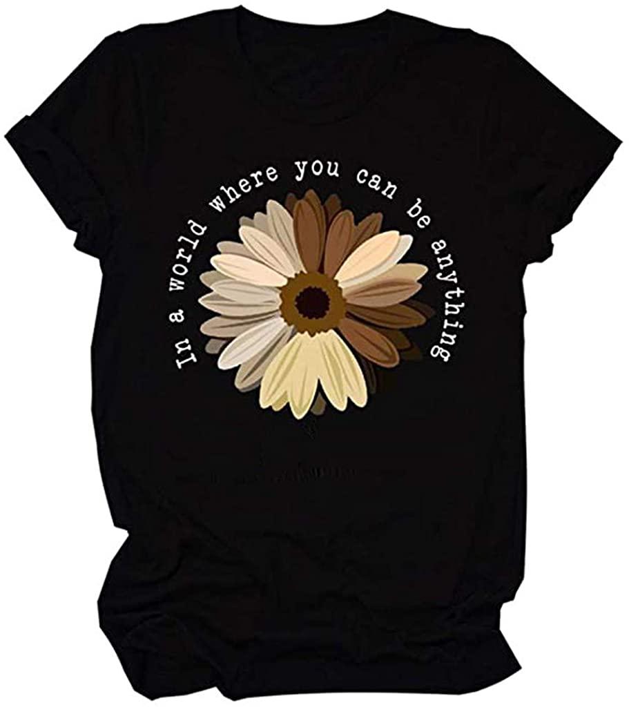 TOTAMALA Women's Girls Novelty Printed O Neck T-Shirts Funny Short Sleeve Graphic Street Tee Tops