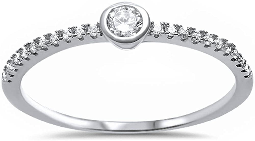 Oxford Diamond Co Cubic Zirconia Bezel Promise .925 Sterling Silver Ring Sizes 5-9