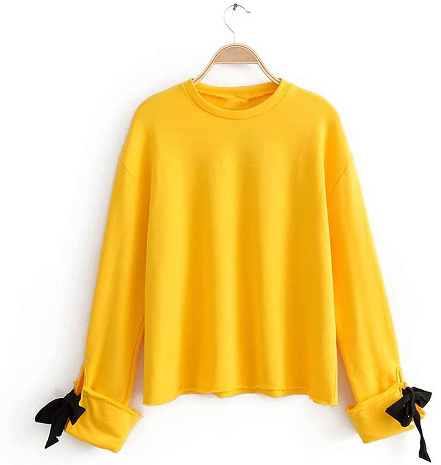 Hoodie Women Blouse New Yellow Pink Color Sleeve Cuff Bow Knot Deco Pullovers Sweatshirt Tops