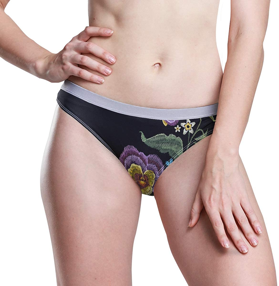 SLHFPX Flower Leaf Embroidery Women's Breathable Panties Seamless Comfort Underwear Bikini