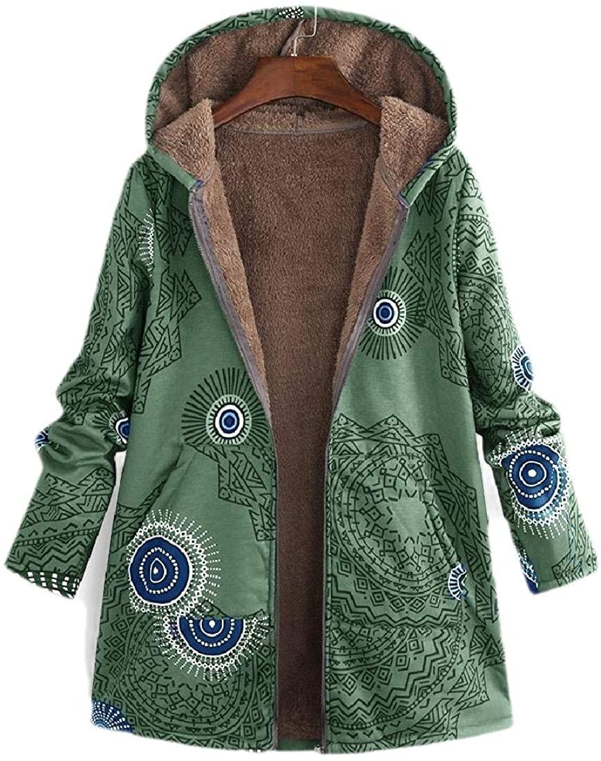 hower Women Hooded Printing Fleece Zipper Up Winter Parka Jacket Outwear