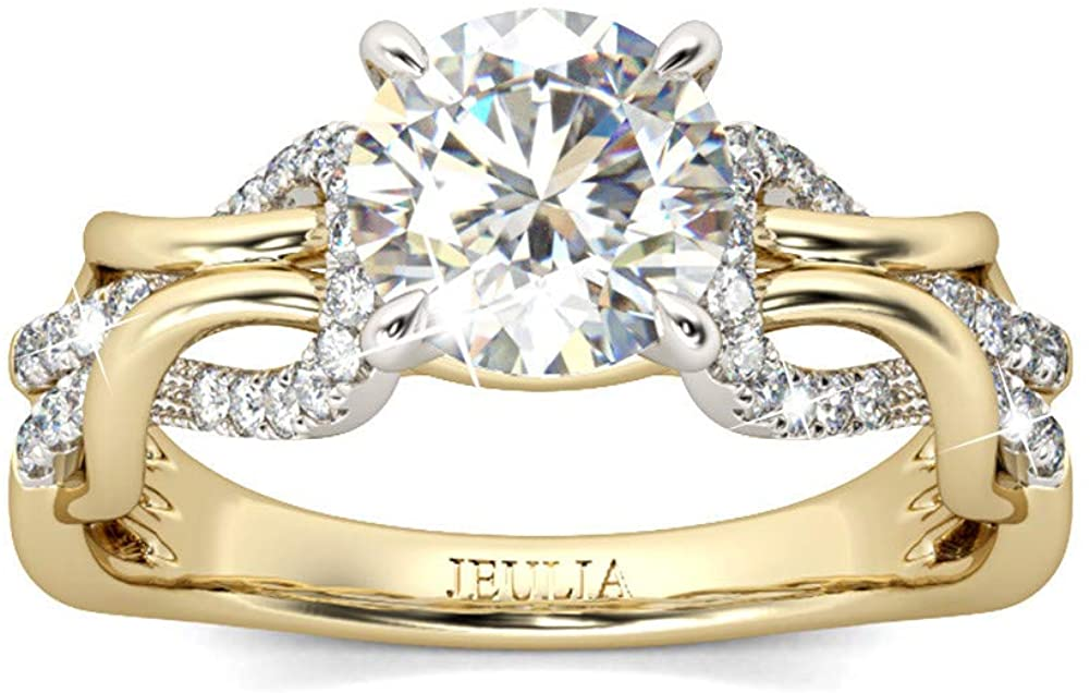 Jeulia 3.5 Carat Intertwined Wedding Rings for Women 925 Sterling Silver 14k Gold Plated Round Cut Solitaire Rings Engagement Anniversary Promise Band Eternity Bridal Set for Her with Gift Box