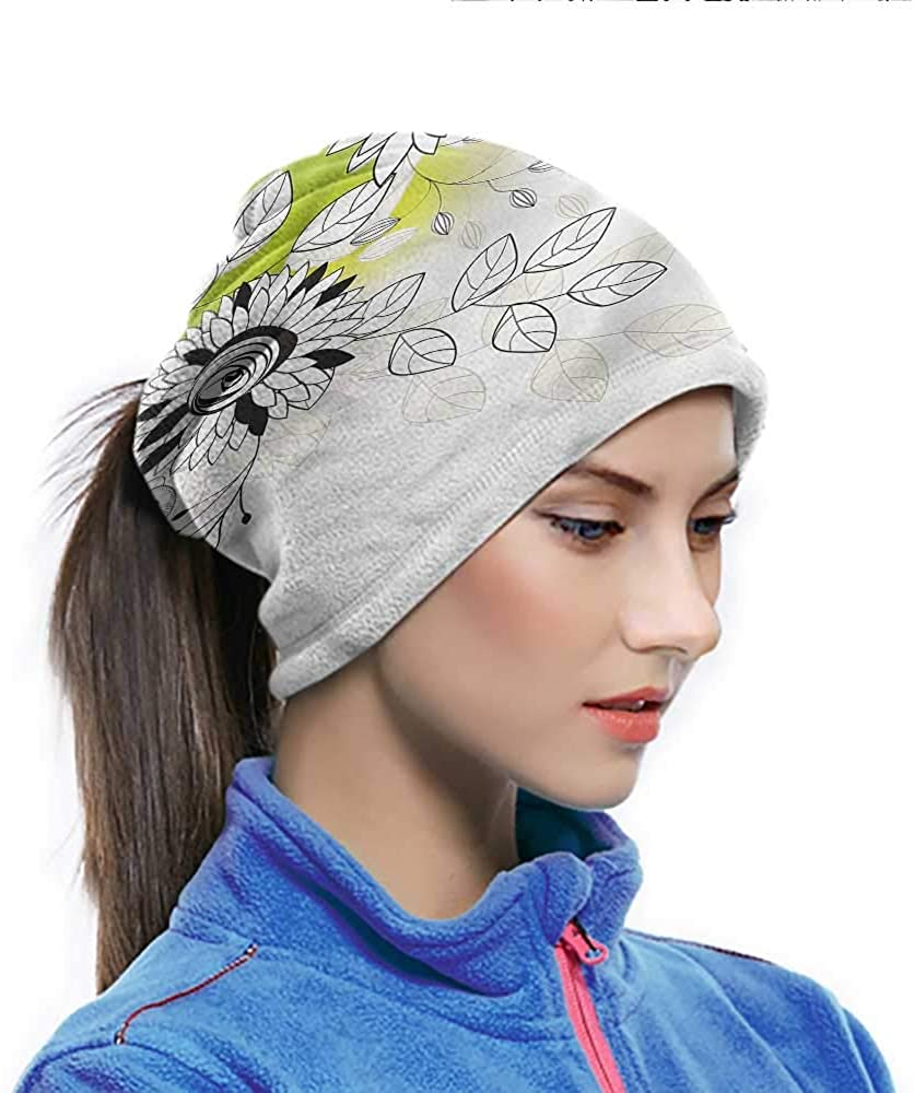 Headwrap Flower, Artsy Wild Field Plants Windproof Face Cover Protects Your Neck Very Well 10 x 11.6 Inch