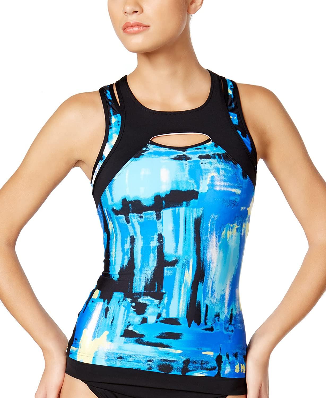 Calvin Klein Women's Printed Sporty Overlay Tankini with Mesh Insert