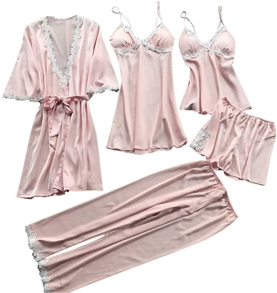 iLOOSKR Sexy Lace Sleepwear for Women Pure Color Satin Nightwear Underwear 5PC Suit