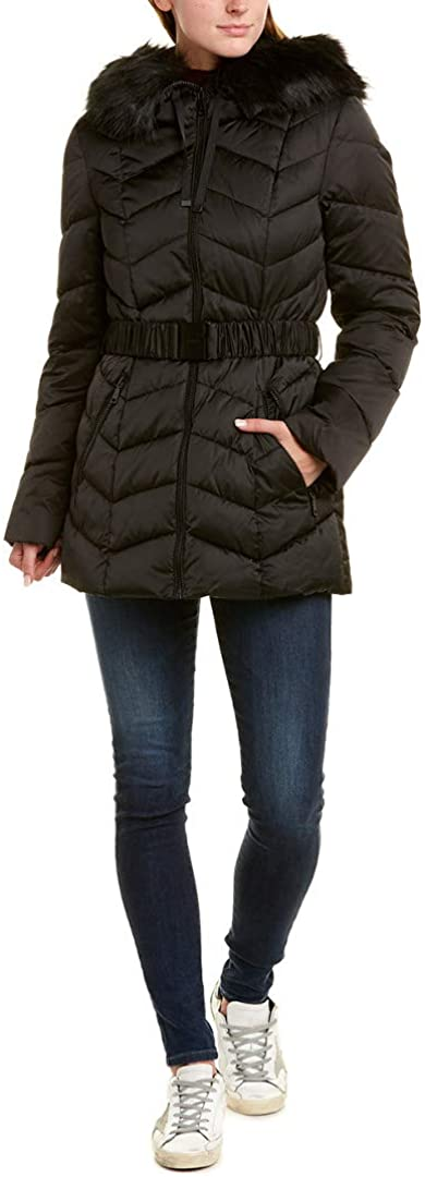 T Tahari Women's Short Puffer with Asymetrical Zipper Closure Outerwear, Black, Large
