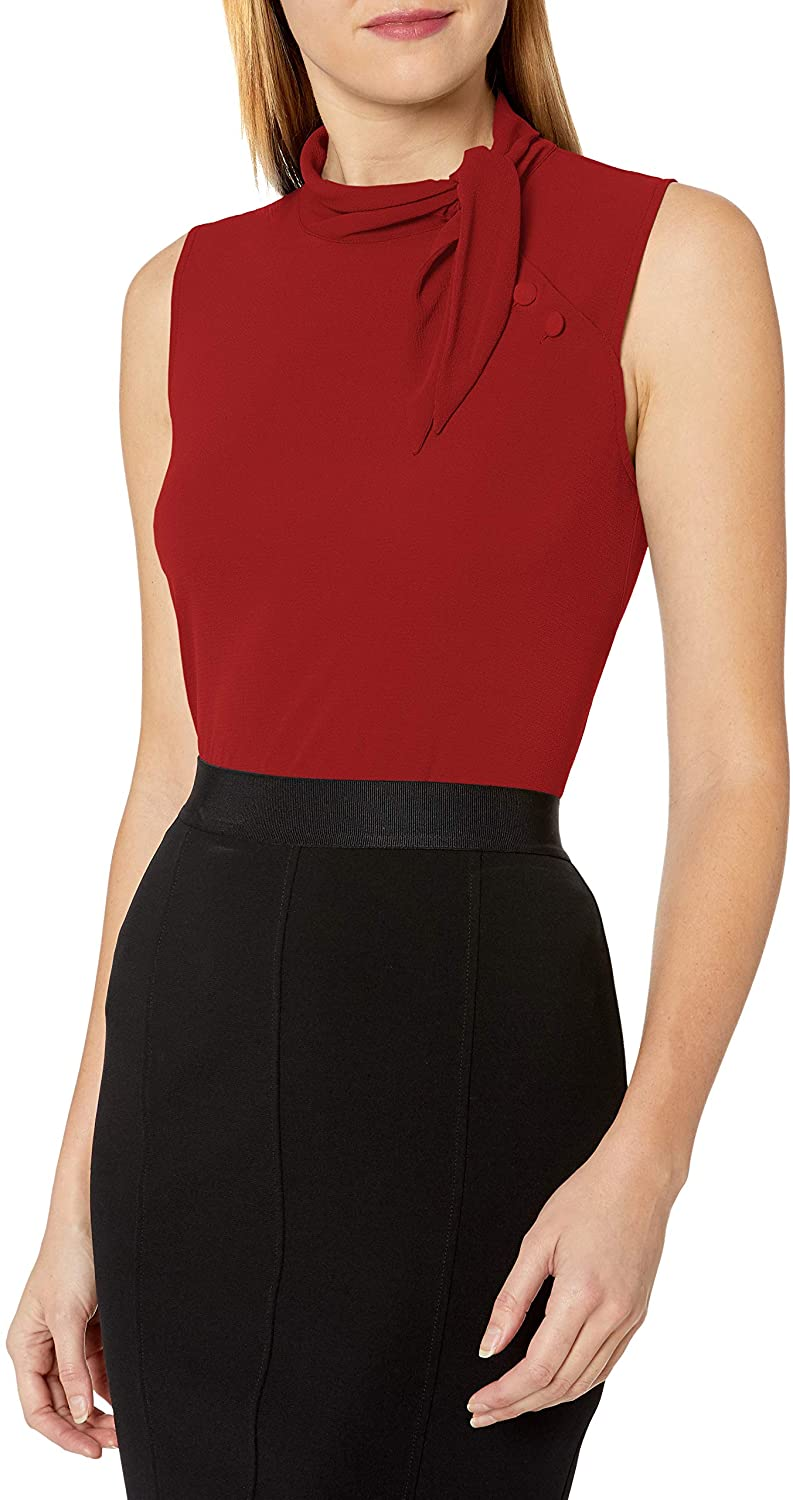 Vince Camuto Women's Sleeveless Tie Neck Side Button Detail Blouse