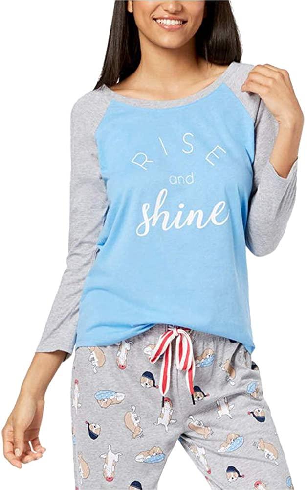 Jenni by Jennifer Moore Raglan-Sleeve Graphic Pajama Top (Med Blue, X-Small)