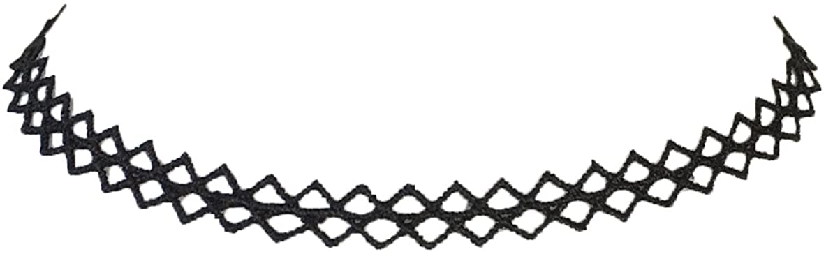 Zad Jewelry Zig Zag Crochet Choker Necklace, Black