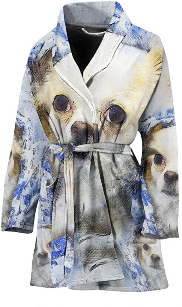 Cute Chihuahua Dog Color Art Print Women's Bath Robe