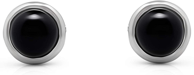 Black Onyx Vintage Gipsy Stud Earrings 925 Sterling Silver Tribal Boho Chic Jewelry