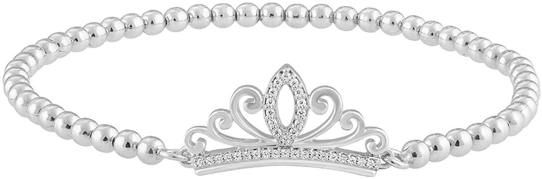 Jewelili Enchanted Disney Fine Jewelry Sterling Silver 1/10Cttw Princess Bracelet