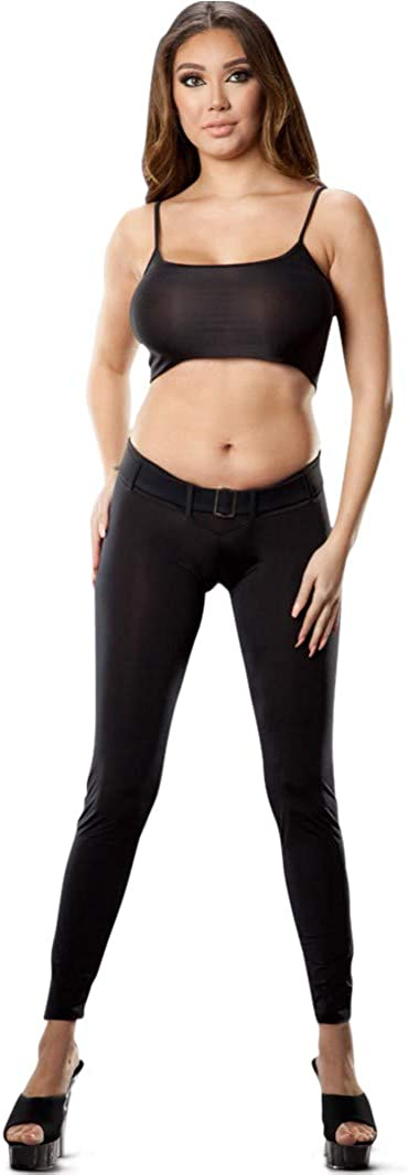 Wicked Temptations Sexy Skinny Yoga Pants Low Waist Scrunch Butt Belted Leggings, Black, USA Made