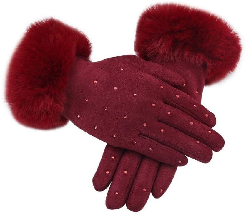 Slowoi Women Wide Finger Gloves Thicken Winter Strong Mittens Female Diamond Wool Phone Gloves (Color : Red, Size : 1)