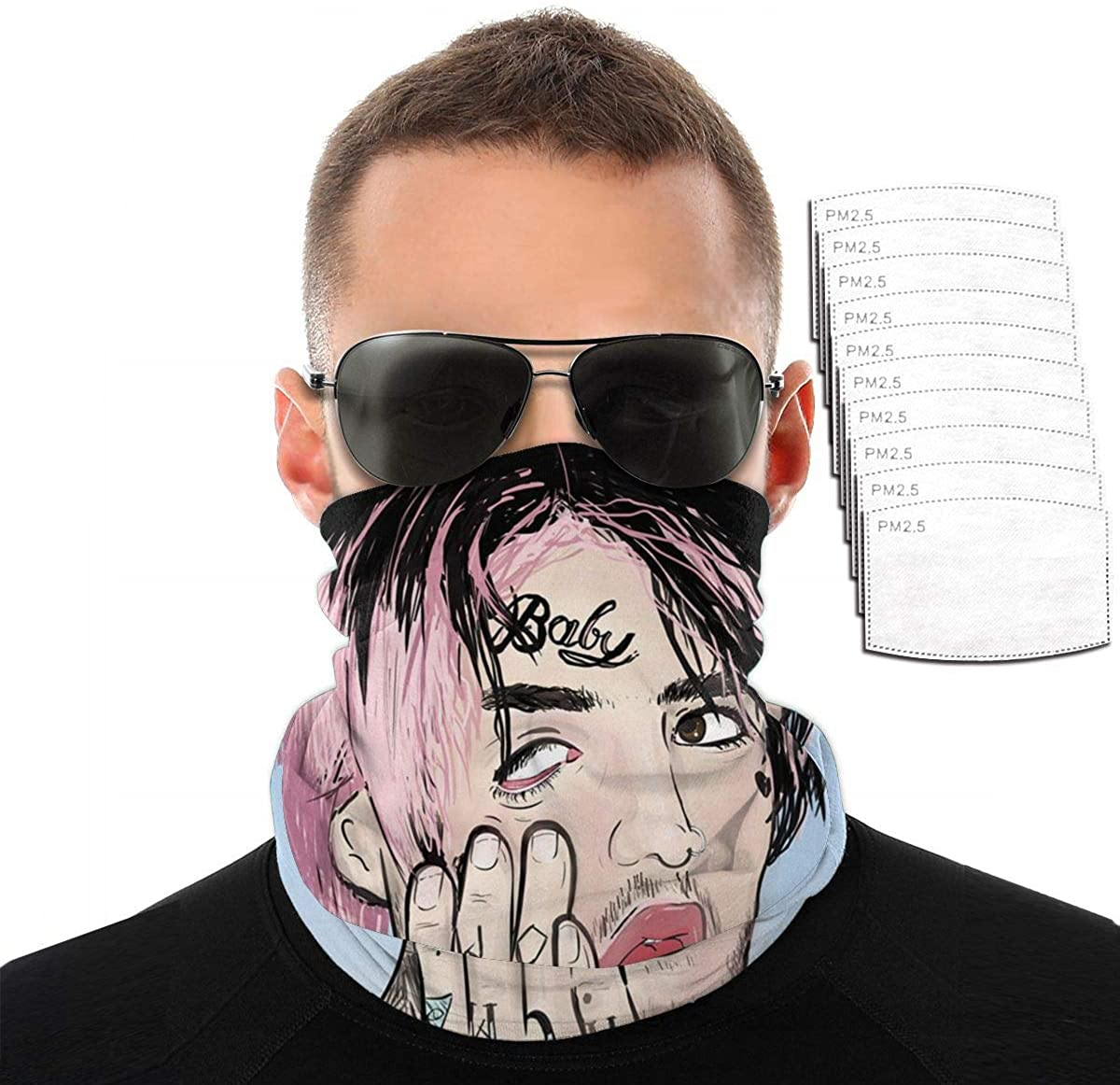 Lil Peep Scarf Bandanas Neck Gaiter With Safety Carbon Filters