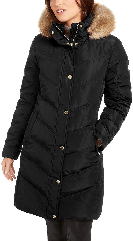 Michael Michael Kors Chevron Faux Fur Trim Hooded Down Puffer Coat Black