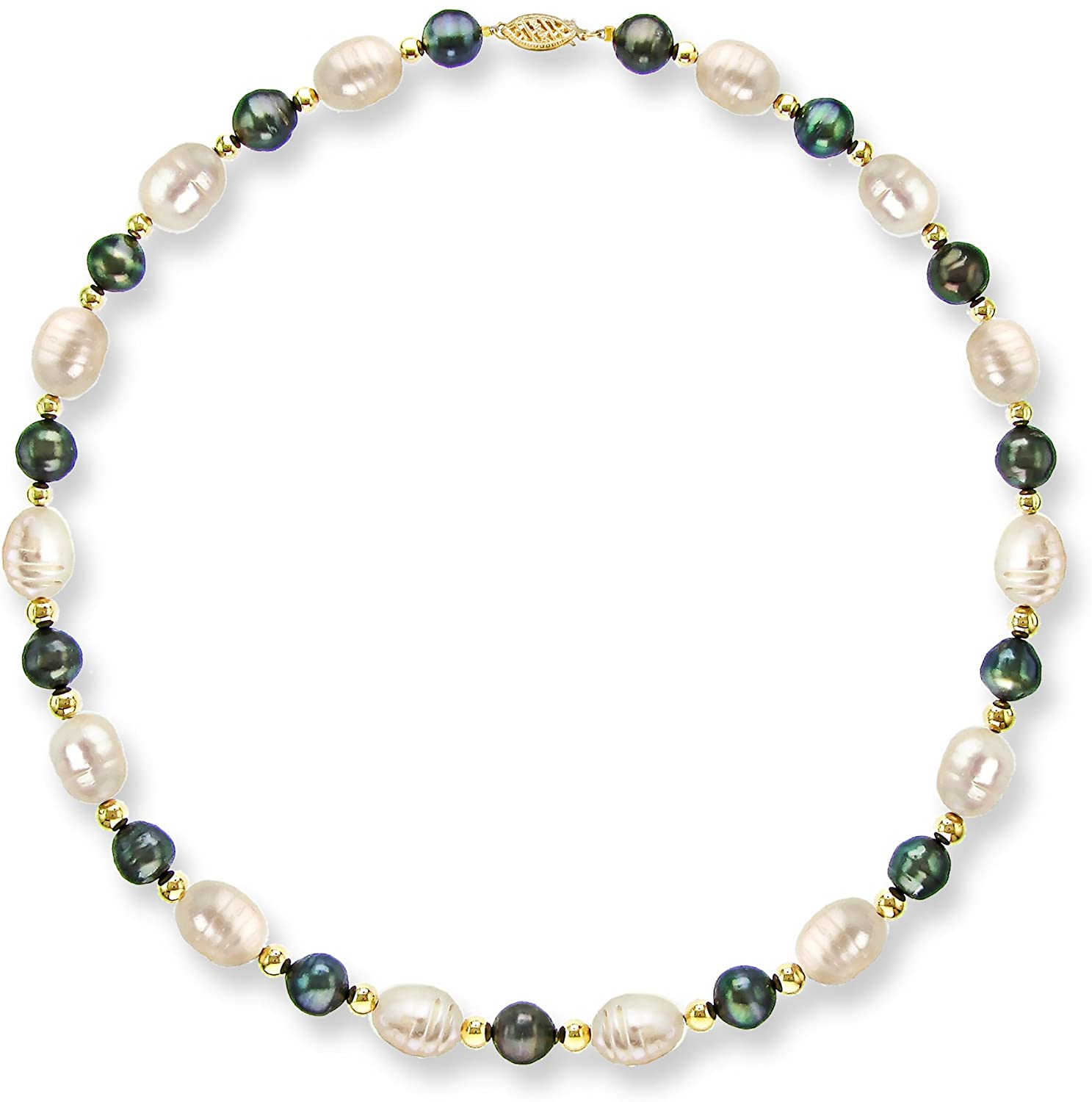 14k Yellow Gold 10-10.5mm White and 7-7.5mm Dyed-Blue Freshwater Cultured Pearl Necklace, 18