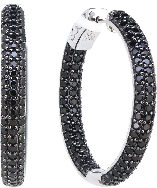 1.25 Sterling Silver Black Spinel Round Hoop Earrings (4.6 CT.T.W)