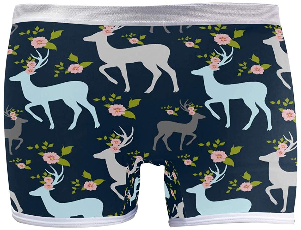 HangWang Womens Hipster Panties Underwear Christmas Deer Cartoon Cute Ladies Breathable Boxer Briefs Panty