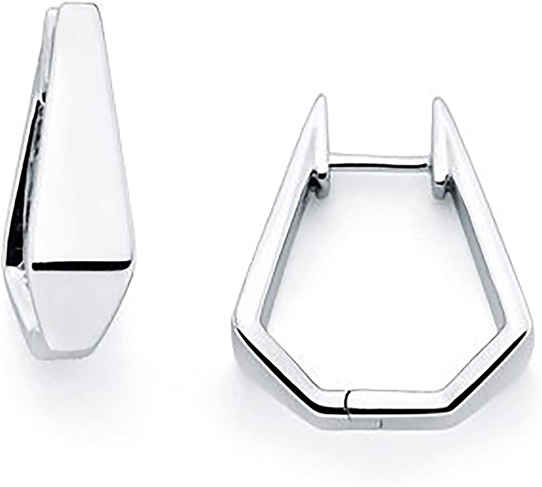 Sterling Silver Tapered Square Hoop Earrings