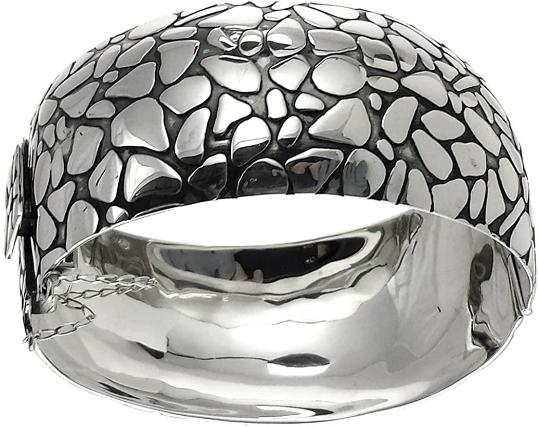 Aleria Designs Sterling Silver Oxidized Pebble Style Bangle Bracelet