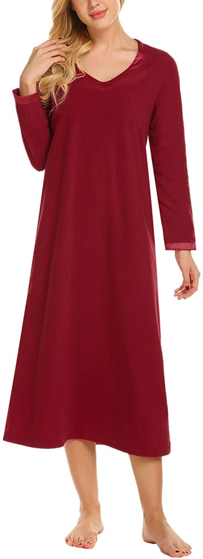 Ekouaer Sleepwear Women's Long Sleeve Nightshirt V Neck Nightdress Ultra Soft Full Length Nightgown