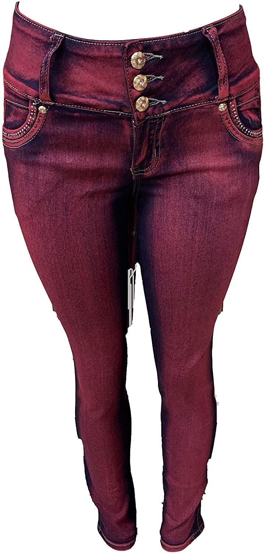 Tush Push New Colombian Stretch high Waist Burgandy Design 1670 Push up Skinny Jeans
