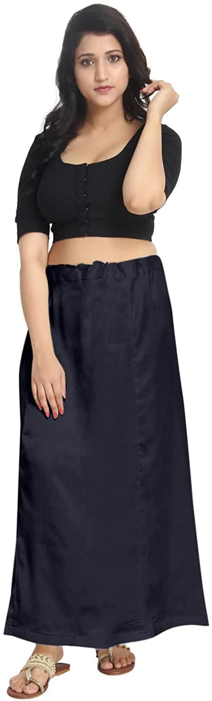 Satin Black Indian Saree Petticoat Stitched Underskirt Undercoat Adjustable Waist Sari Skirt Quilted PS