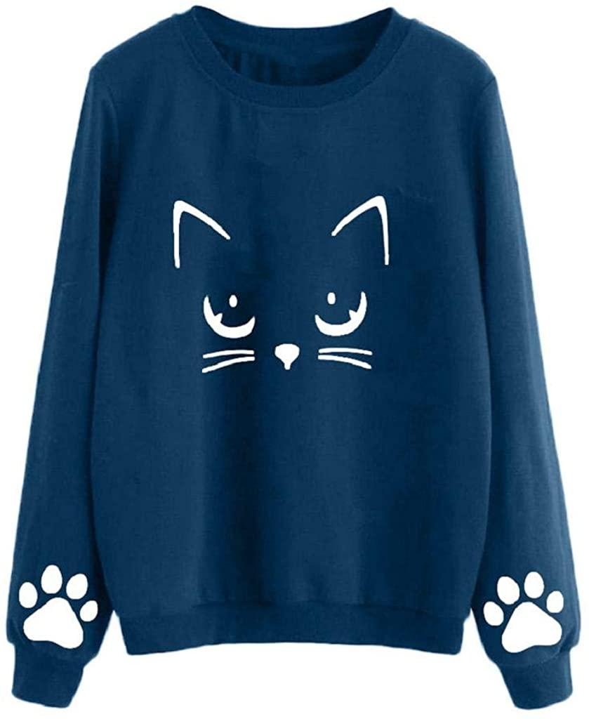 terbklf Women's Cat Print Lightweight Sweatshirt Long Sleeve Casual Pullover Shirt Spring Autumn Shirt for Teen Girls