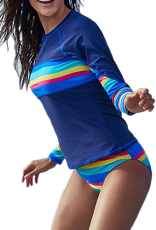 Coolweary Womens Geometric Print Contrast Long Sleeve Tie Side Rash Guard Tankini Swimsuit(S-XXXL)