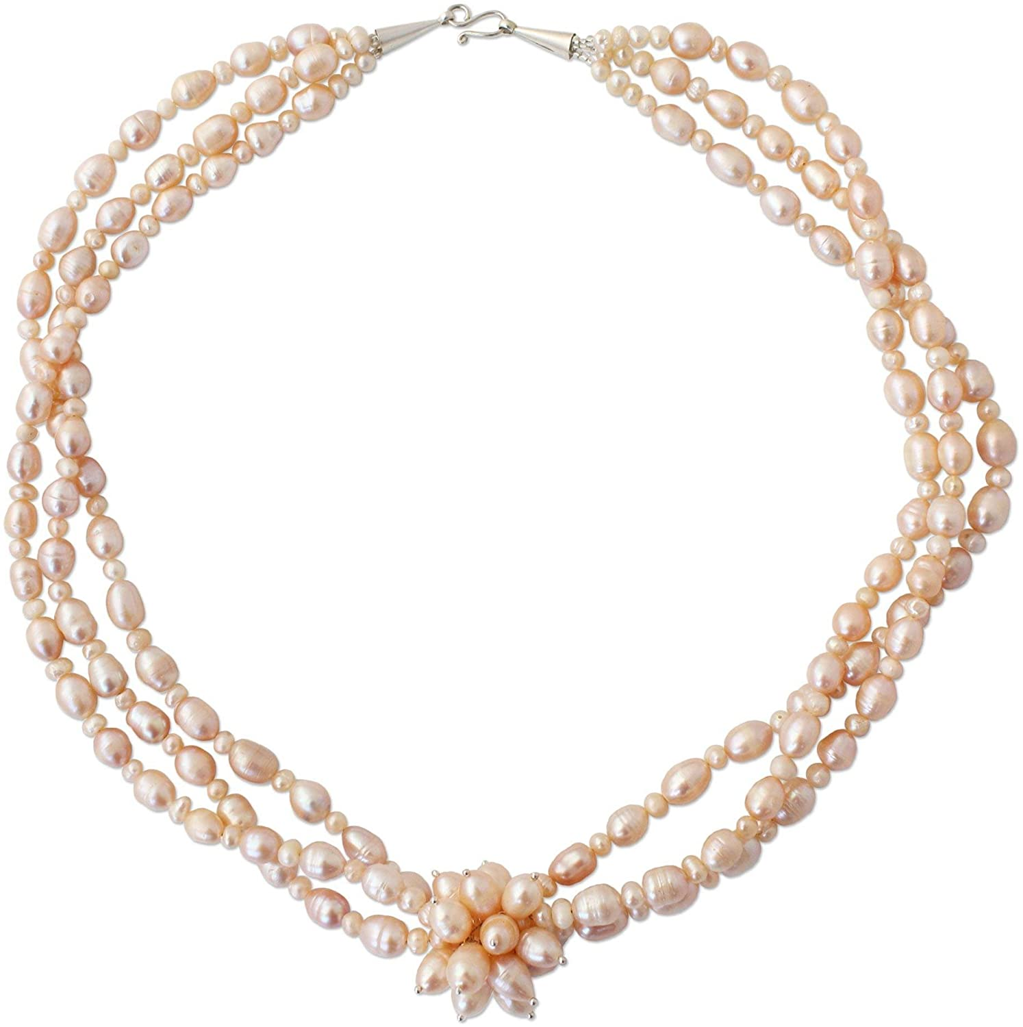 NOVICA Peach Cultured Freshwater Pearl .925 Sterling Silver Necklace, 22.75