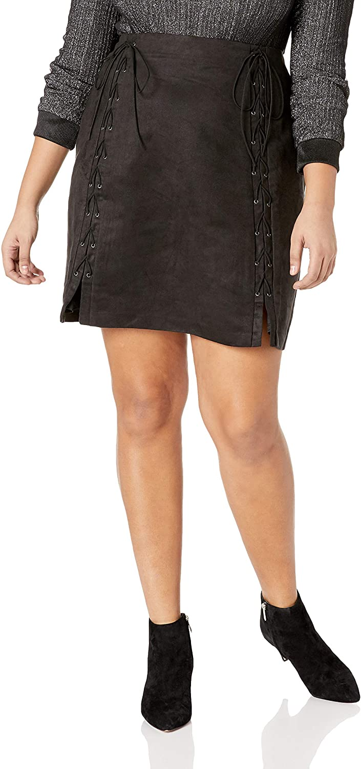 City Chic Women's Apparel Women's Plus Size Mini Sueded Detailed Skirt