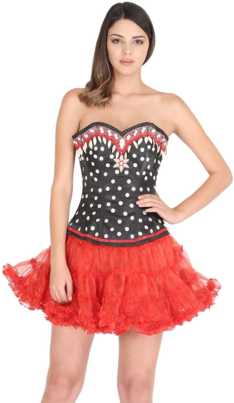 Black Satin Polka Dot Sequin Corset Burlesque Costume Plus Size Overbust Bustier