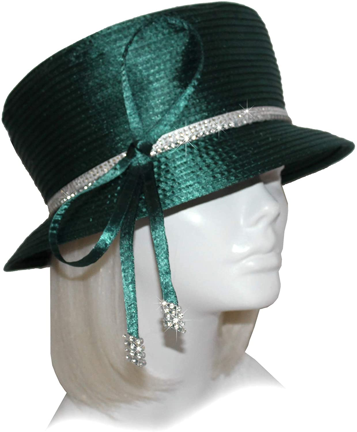 Mr. Song Millinery All-Season Small Brim Hat with Crystal Rhinestone Q190