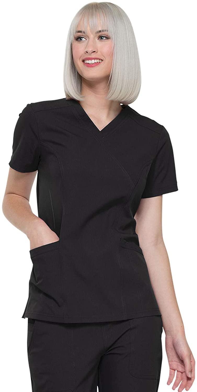 Elle Simply Polished Mock Wrap Top, EL620, XXS, Black