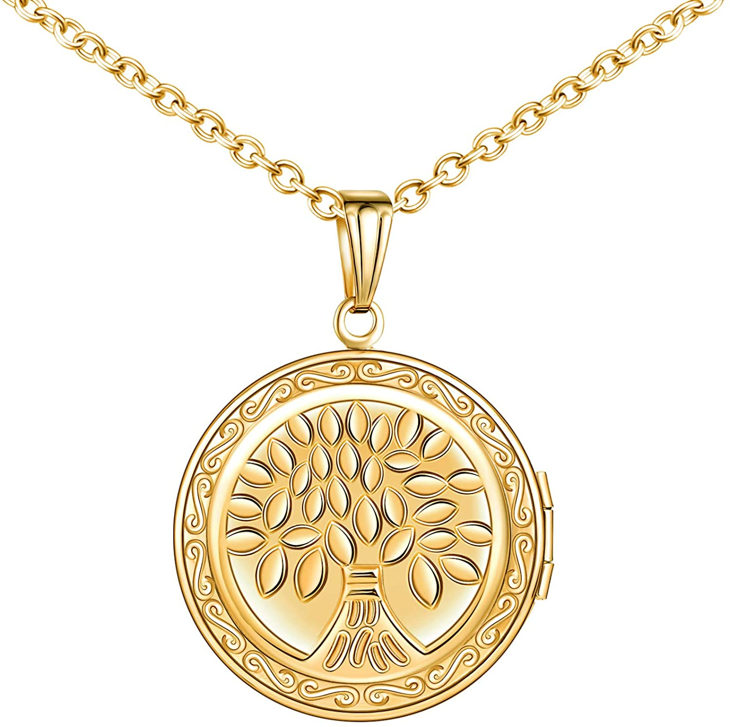 MicLee Round Shape Photo Locket Pendant Necklace Stainless Steel Tree of Life Necklace for Women with Gift Box
