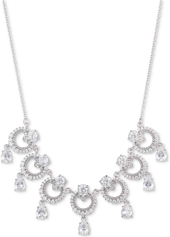 Marchesa Silver-Tone Cubic Zirconia Link Statement Necklace, 16