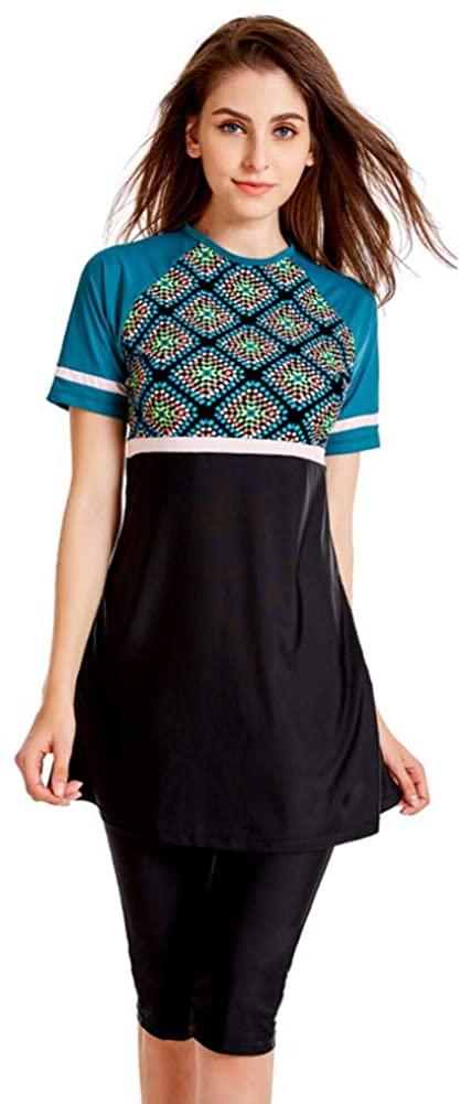 Haofan Muslim Swimsuits for Women Plus Size Modest Print 2 Pieces Swimwear Rash Guard Surfing Suit