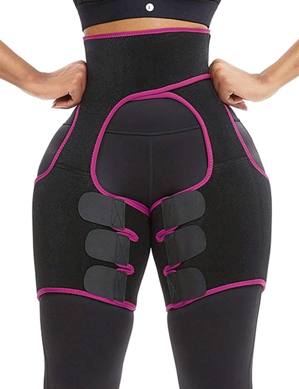 Lover-Beauty High Waist Thigh Waist Shaper Spontaneous Heating Sticker Neoprene Thigh Shapewear Rose Red M
