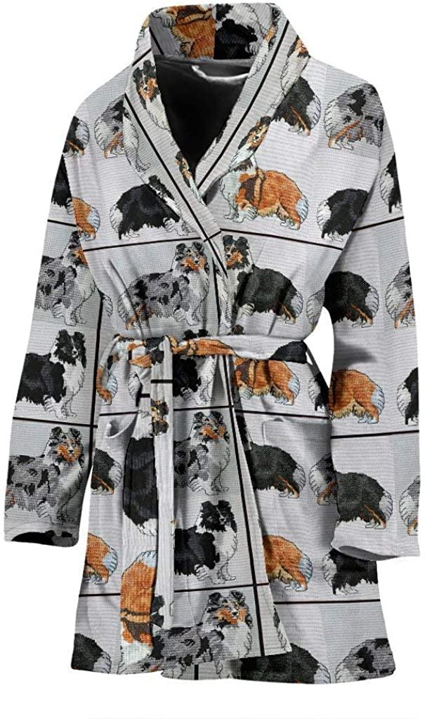 Shetland Sheepdog Art Pattern Print Women's Bath Robe