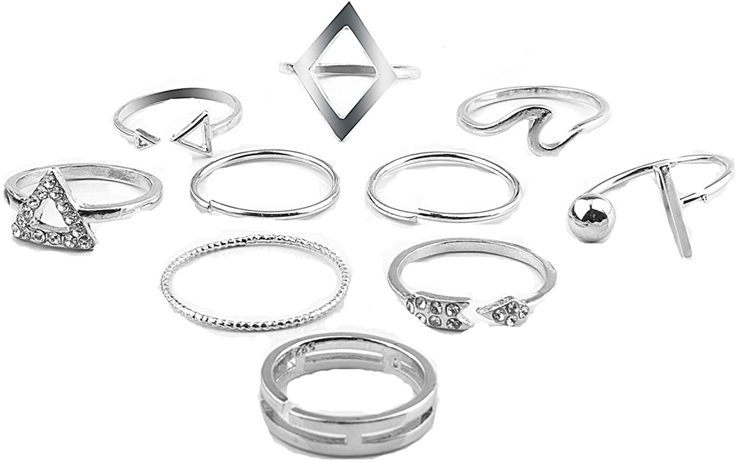 SOTOLAN 10PCS Bohemian Knuckle Ring Set Vintage Silver Crystal Joint Knuckle Ring Set for Women