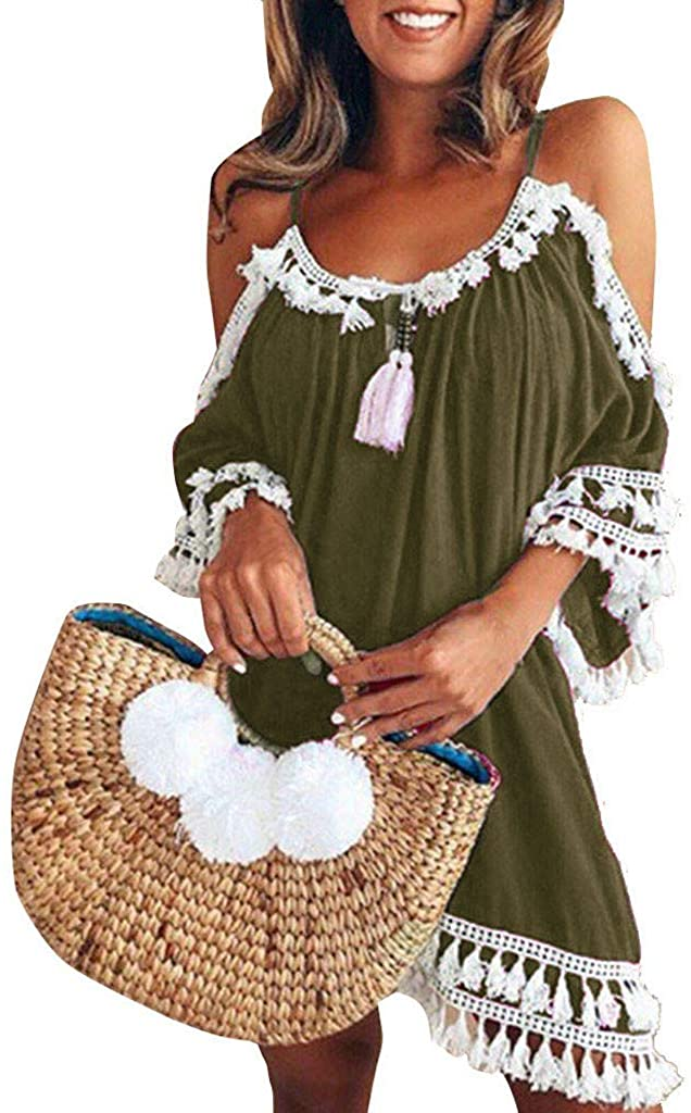 Tassel Dresses for Women Off The Shoulder Cocktail Party Beach Dresses Holiday Party Bodycon Sundress Mini Fringe Dress