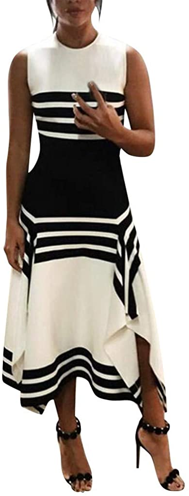 Severkill Women Stripe Print Sleeveless Casual Tight Waist Round Neck Party Club Midi Dresses Vestido
