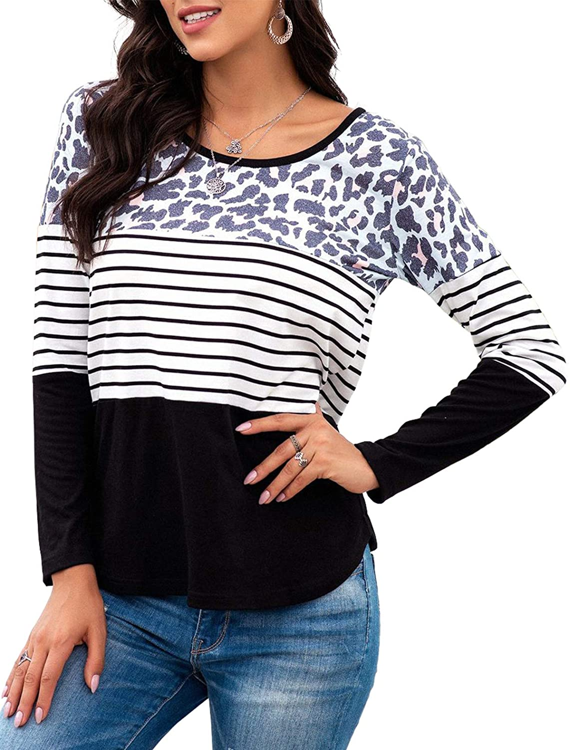 Trendy Queen Women's Leopard Printed Long Sleeve T Shirts Casual Color Block Tees Round Neck Stripe Tops