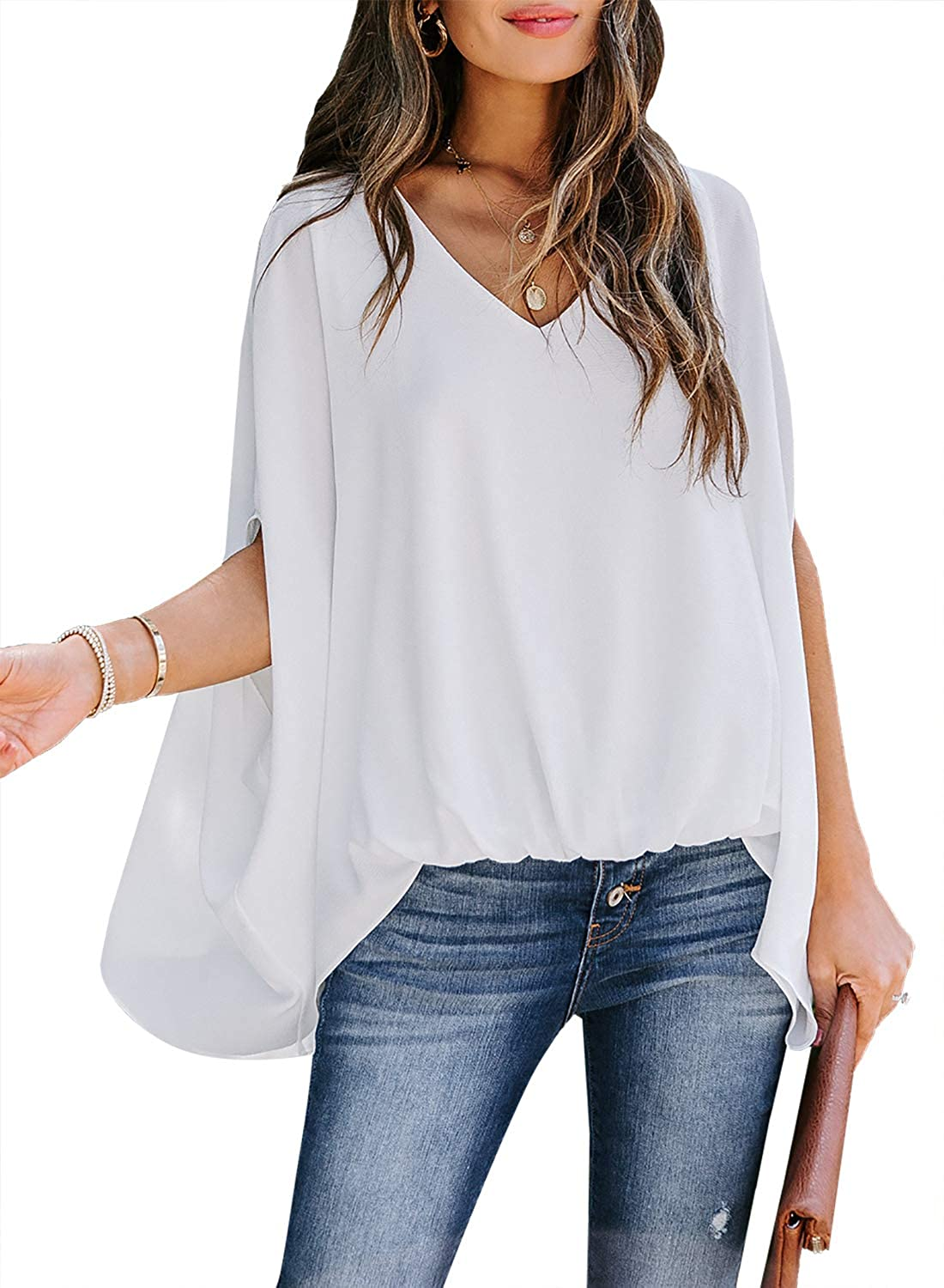 FIYOTE Womens Tops and Blouses Casual Summer Wrap Drape V Neck Shirts Blouses