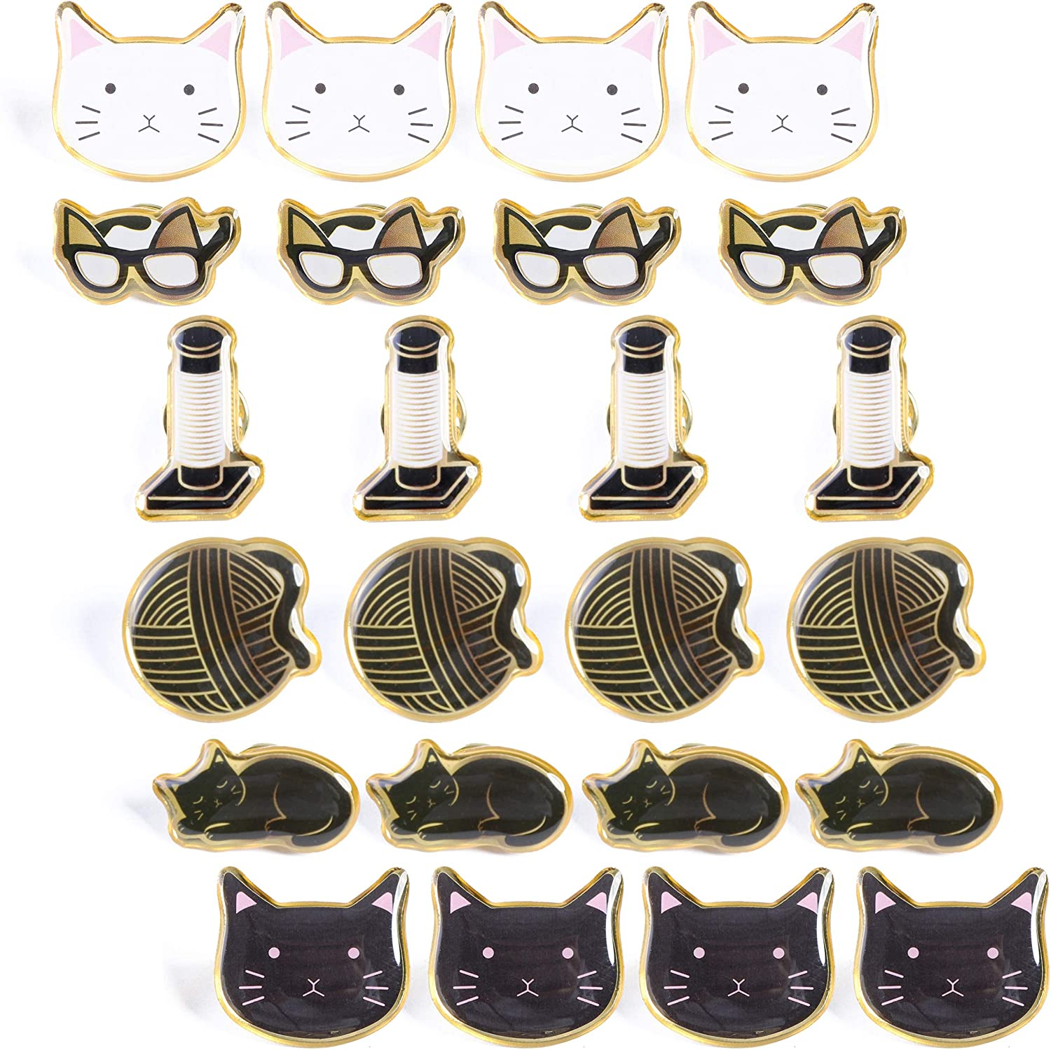 Cat Brooch Lapel Pins (24 Pack)