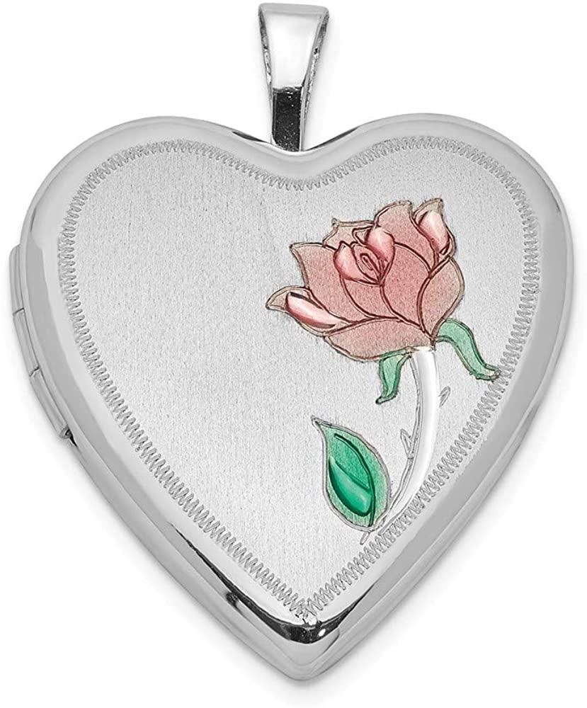 Solid 925 Sterling Silver 20mm Enameled Flower Heart Locket Pendant - 25mm x 20mm