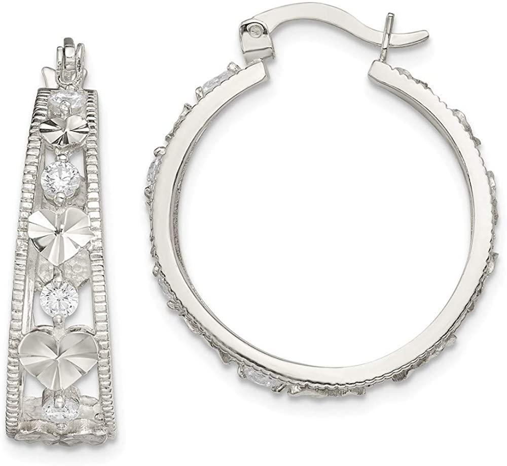 925 Sterling Silver CZ Cubic Zirconia Simulated Diamond Sparkle Cut Love Heart Hoop Earrings Jewelry Gifts for Women