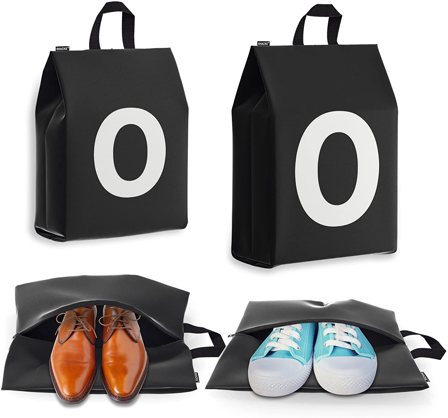 Shoe Bags for Travel for Men and Women - Personalized Initial - 4pk