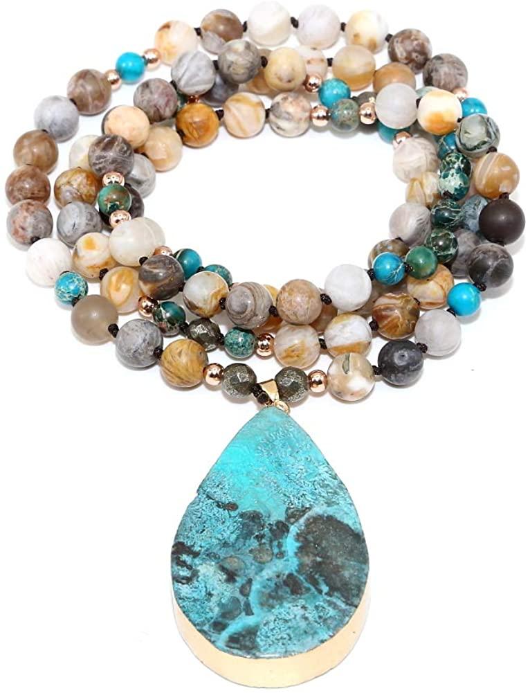 Yingan Handmade Natural Ocean Jasper Stone Genuine Leather 5X Wrap Bracelet